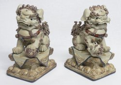 Chinese Feng Shui Fu Foo Dog Ceramic Statue Large Heavy