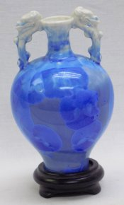 "6.5"" Quality Celedon Porcelain Color Snow Blue Crystalline Glaze Vase Pot"