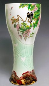 "18""H Vintage Large Unique Masterpiece Hand Painted Porcelain Vase Birds Flowers"