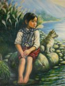 Genuine Chinese Oil Painting On Canvas Tibet Girl