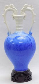 "12"" Quality Celedon Porcelain Color Snow Blue Crystalline Glaze Vase Pot"