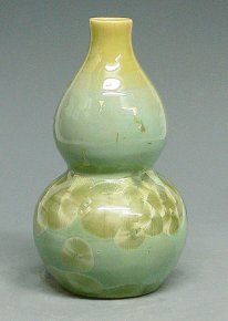Natural Hand-Painted Celedon Porcelain Gourd Vase China