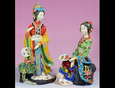 Chinese Ceramic Porcelain Ladies Figurines